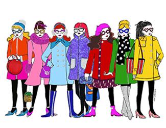 Illustration of fashionable women
