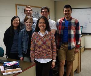 Group of students with Dr. Patricia Soto in computational biophysics lab
