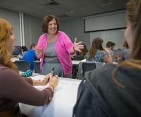 Carol Zuegner, PhD, teaching a class