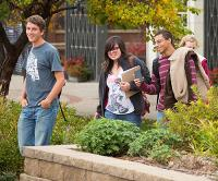 Group of students on Creighton campus in fall